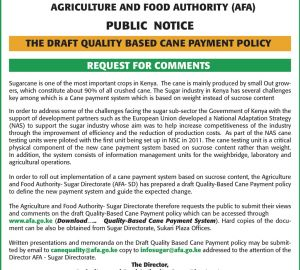 THE DRAFT QUALITY BASED CANE PAYMENT POLICY
